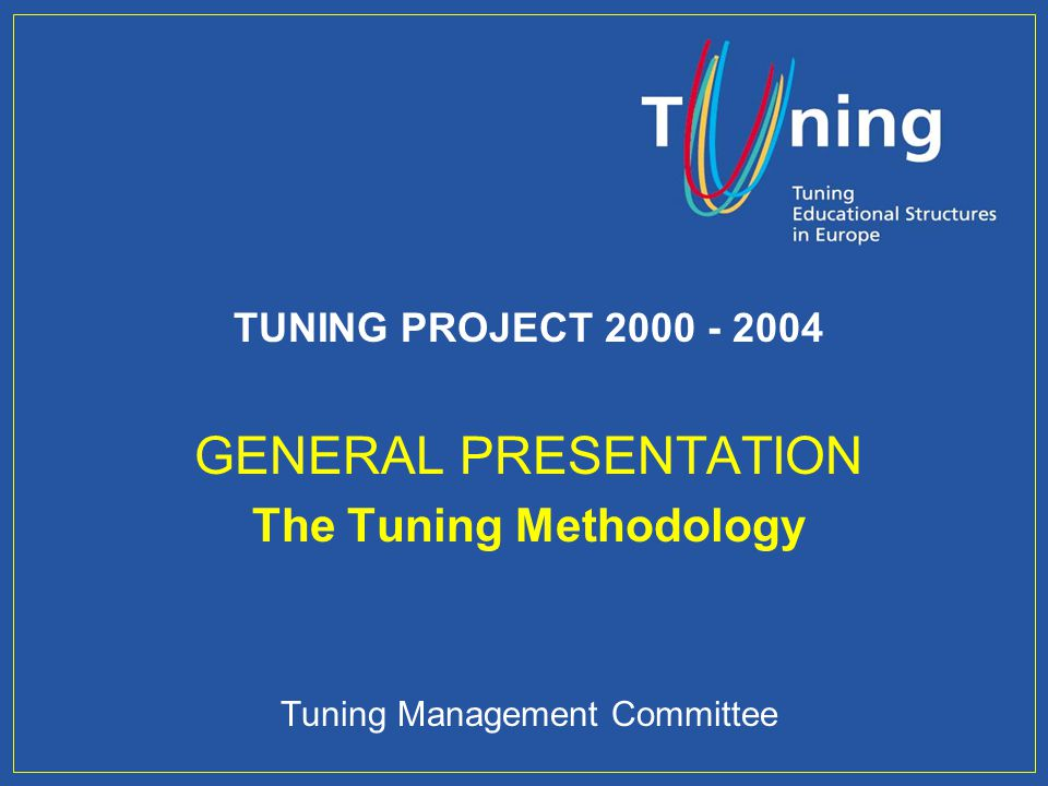 Management Committee TYPES OF COMPETENCES MEASURED: Systemic competences: Capacity for applying knowledge in practice Research skills Capacity to learn Capacity to adapt to new situations Capacity for generating new ideas (creativity) Leadership Understanding of cultures and customs of other countries Ability to work autonomously Project design and management Initiative and entrepreneur spirit Concern for quality Will to succeed Management Committee THE TUNING QUESTIONNAIRE