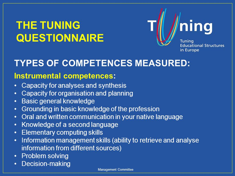 Management Committee TYPES OF COMPETENCES MEASURED: Instrumental competences: Capacity for analyses and synthesis Capacity for organisation and planni