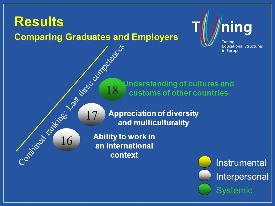Management Committee Combined ranking: Last three competences Results Comparing Graduates and Employers Instrumental Interpersonal Systemic 18 Underst