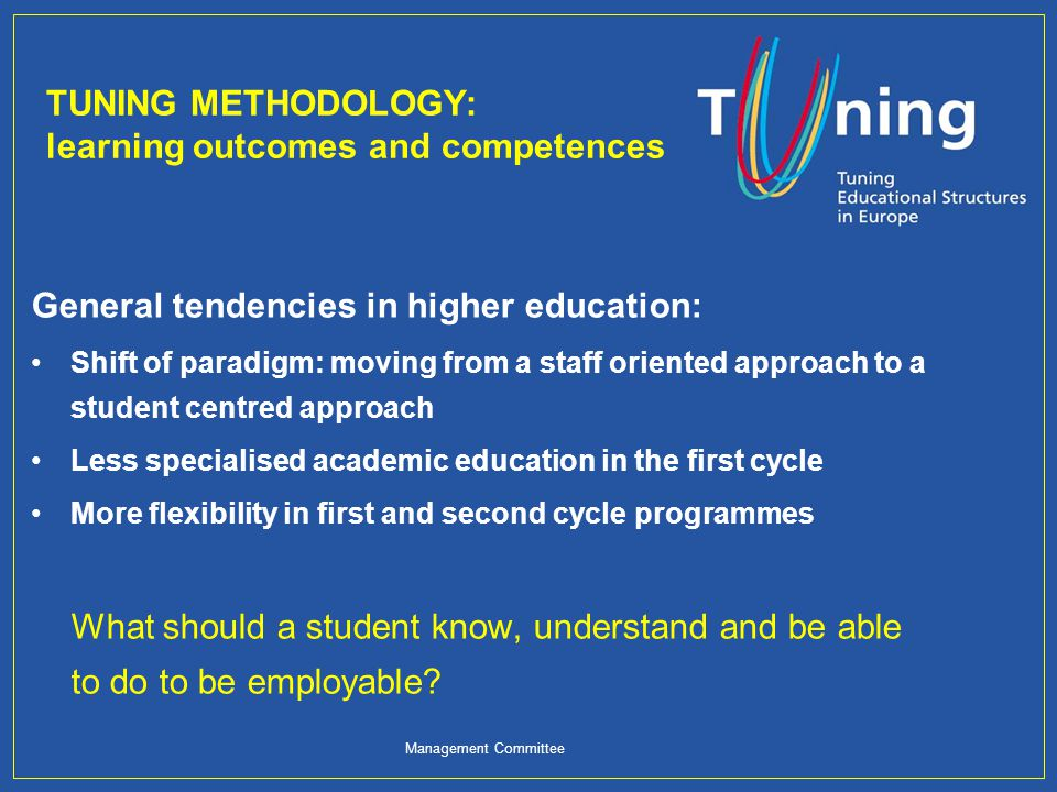 The Tuning Methodology Line 1: Generic competences Consultation with graduates, employers and academics on the importance of 30 generic competences and an evaluation of how well HE institutions develop them.