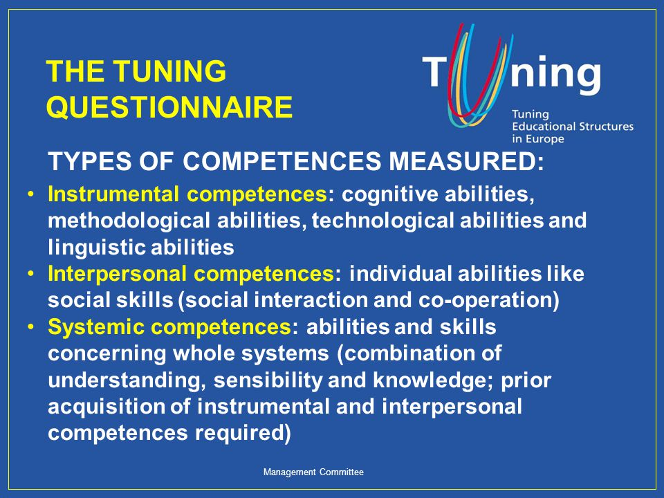 Management Committee TUNING DEFINITIONS: Learning outcomes: Statements of what a learner is expected to know, understand and/or be able to demonstrate after completion of learning.