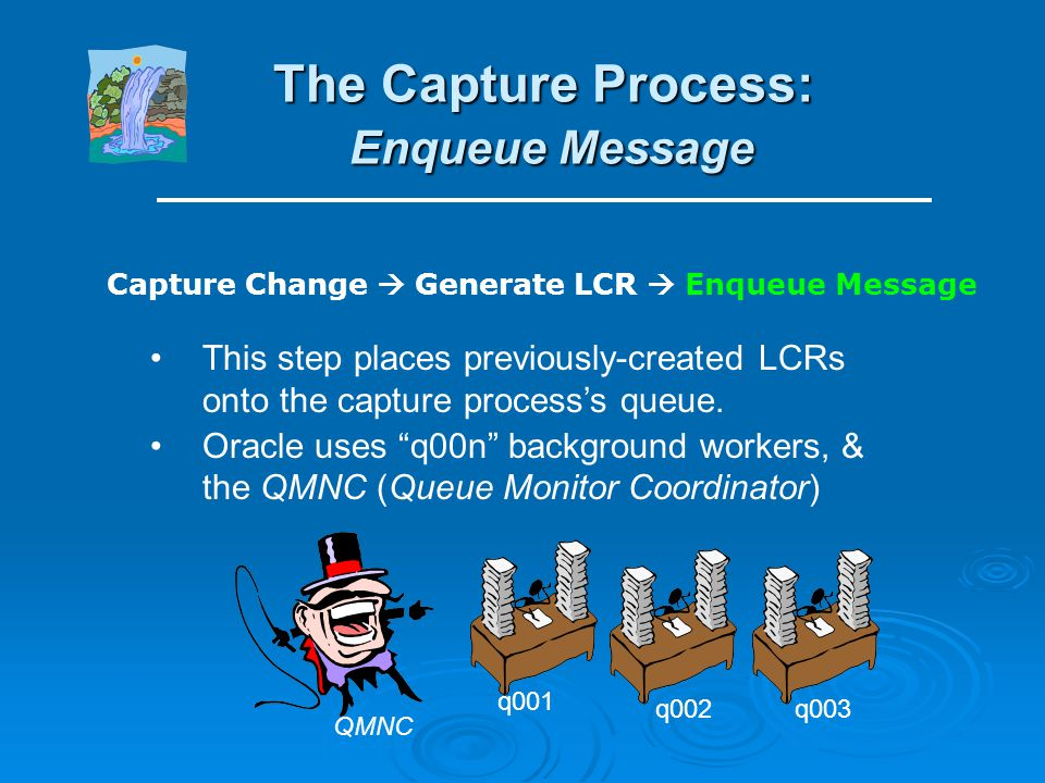 The Capture Process: Generate LCR First, examine change & determine if Streams is configured to handle that change or not. If so, convert into one or