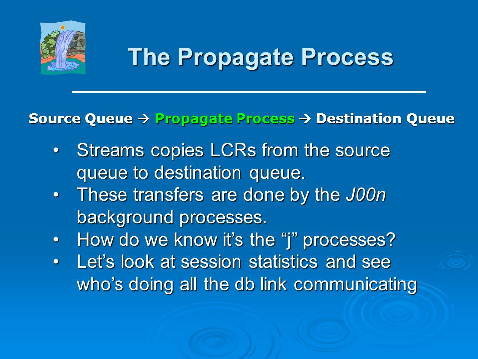 The Capture Process: Enqueue Message Example of the queue background processes: Select Program, Sid From V$session Where Upper(program) Like '%(Q%' An