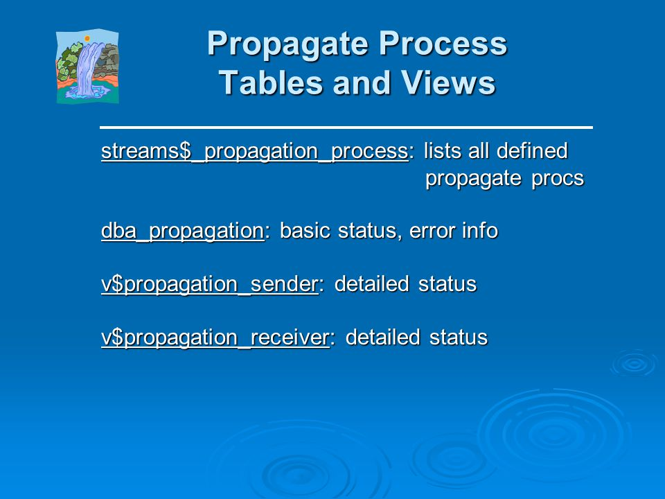 Capture Process Tables and Views streams$_capture_process: lists all defined capture processes capture processes dba_capture: basic status, error info