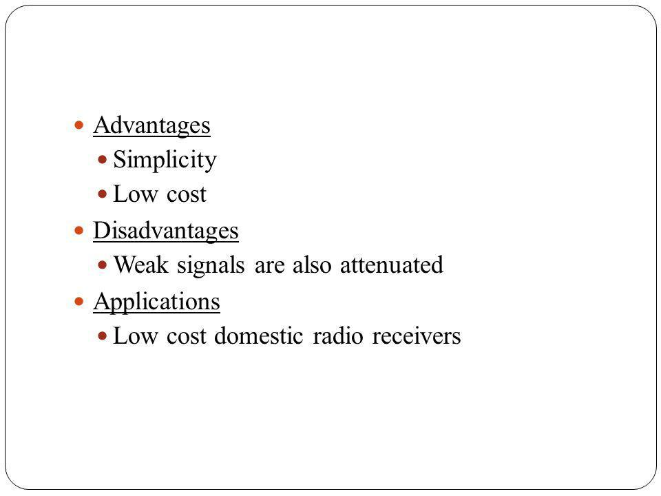 Advantages Simplicity Low cost Disadvantages Weak signals are also attenuated Applications Low cost domestic radio receivers