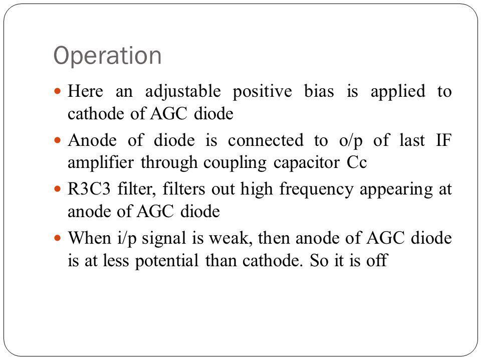 Operation Here an adjustable positive bias is applied to cathode of AGC diode Anode of diode is connected to o/p of last IF amplifier through coupling