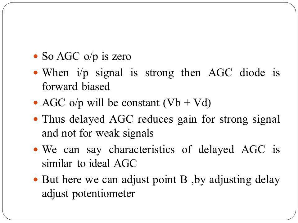 So AGC o/p is zero When i/p signal is strong then AGC diode is forward biased AGC o/p will be constant (Vb + Vd) Thus delayed AGC reduces gain for str