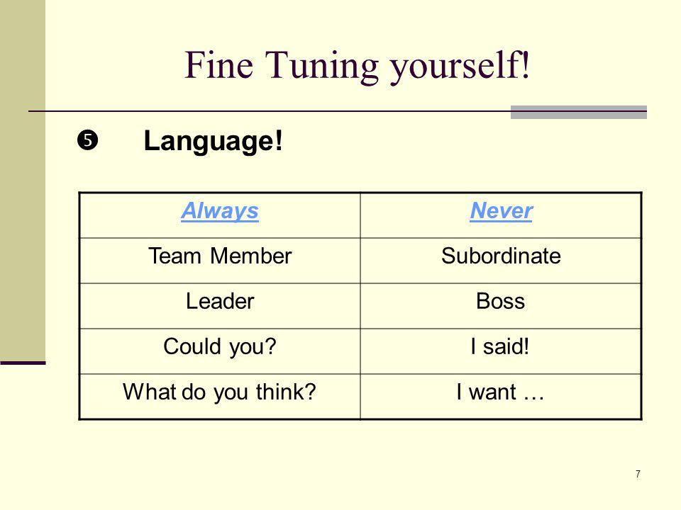 7 Fine Tuning yourself. Language. AlwaysNever Team MemberSubordinate LeaderBoss Could you I said.