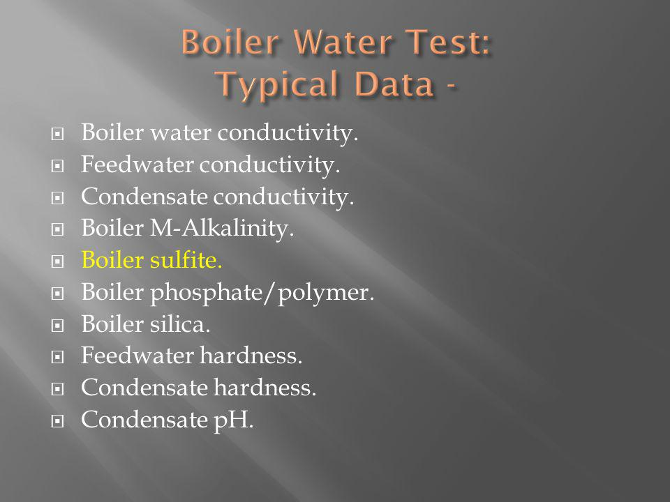 Boiler water conductivity. Feedwater conductivity.