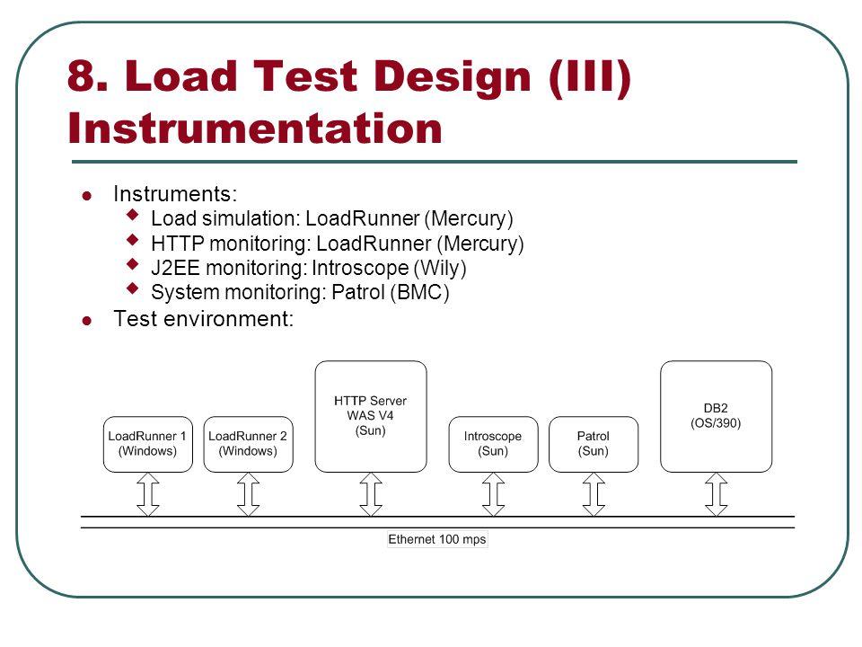8. Load Test Design (III) Instrumentation Instruments: Load simulation: LoadRunner (Mercury) HTTP monitoring: LoadRunner (Mercury) J2EE monitoring: In