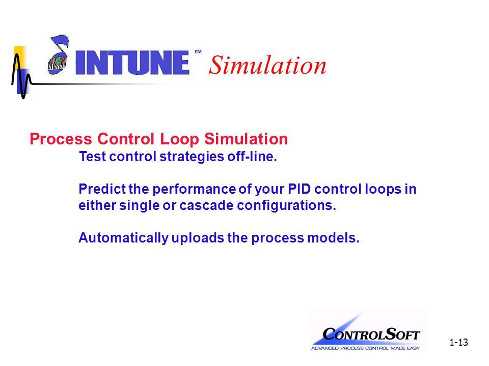 1-13 Simulation Process Control Loop Simulation Test control strategies off-line.