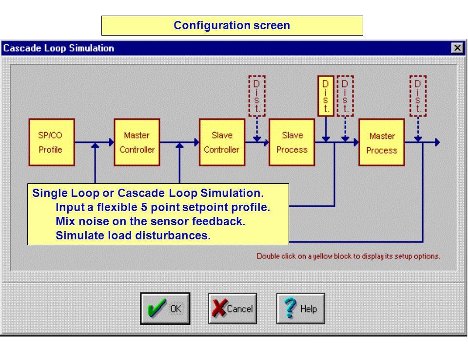 Configuration screen Single Loop or Cascade Loop Simulation.
