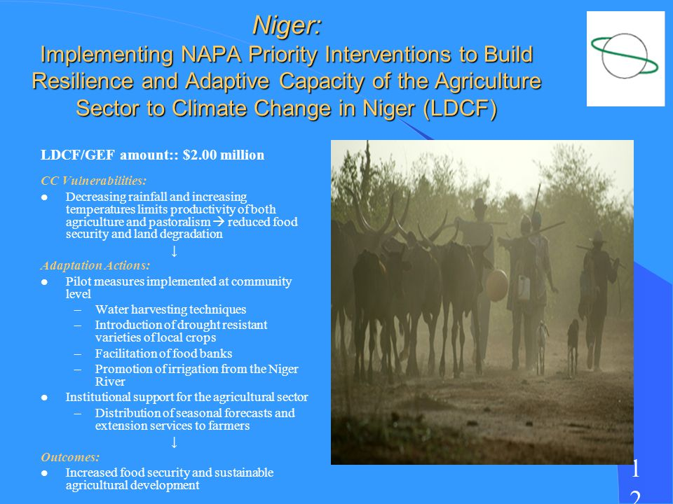 1212 Niger: Implementing NAPA Priority Interventions to Build Resilience and Adaptive Capacity of the Agriculture Sector to Climate Change in Niger (LDCF) LDCF/GEF amount:: $2.00 million CC Vulnerabilities: l Decreasing rainfall and increasing temperatures limits productivity of both agriculture and pastoralism reduced food security and land degradation Adaptation Actions: l Pilot measures implemented at community level –Water harvesting techniques –Introduction of drought resistant varieties of local crops –Facilitation of food banks –Promotion of irrigation from the Niger River l Institutional support for the agricultural sector –Distribution of seasonal forecasts and extension services to farmers Outcomes: l Increased food security and sustainable agricultural development