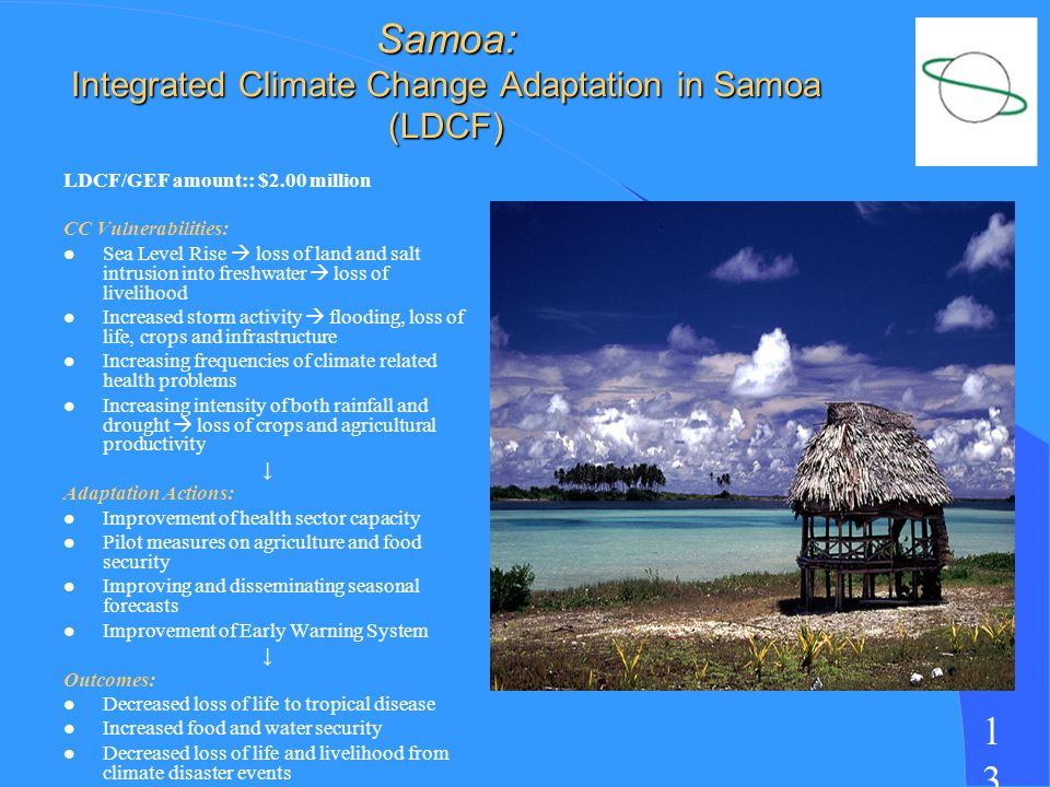 1313 Samoa: Integrated Climate Change Adaptation in Samoa (LDCF) LDCF/GEF amount:: $2.00 million CC Vulnerabilities: l Sea Level Rise loss of land and salt intrusion into freshwater loss of livelihood l Increased storm activity flooding, loss of life, crops and infrastructure l Increasing frequencies of climate related health problems l Increasing intensity of both rainfall and drought loss of crops and agricultural productivity Adaptation Actions: l Improvement of health sector capacity l Pilot measures on agriculture and food security l Improving and disseminating seasonal forecasts l Improvement of Early Warning System Outcomes: l Decreased loss of life to tropical disease l Increased food and water security l Decreased loss of life and livelihood from climate disaster events