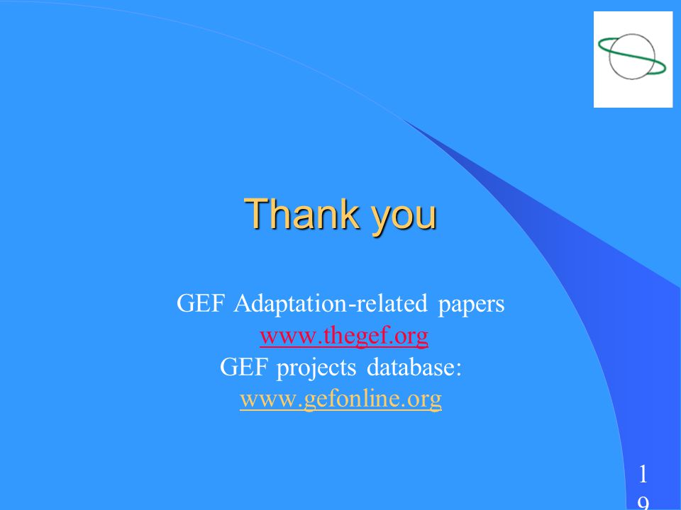 1919 Thank you GEF Adaptation-related papers   GEF projects database: