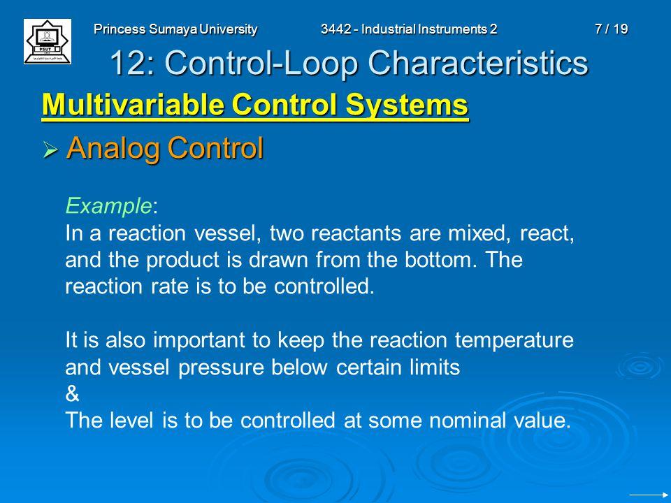 Princess Sumaya University3442 - Industrial Instruments 28 / 19 12: Control-Loop Characteristics Multivariable Control Systems Analog Control Analog Control Supervisory & Direct Digital Control (DDC) Supervisory & Direct Digital Control (DDC) May use self-adapting algorithms.