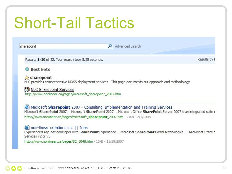 Short-Tail Tactics | www.nonlinear.ca ottawa 613.241.2067 toronto 416.203.2997 14