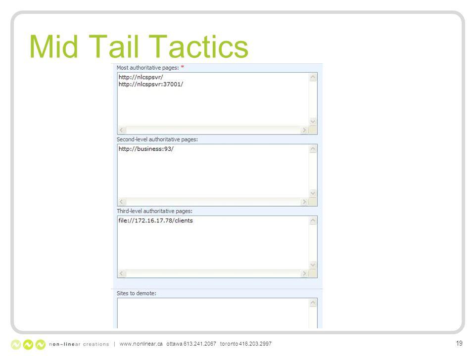 Mid Tail Tactics | www.nonlinear.ca ottawa 613.241.2067 toronto 416.203.2997 19