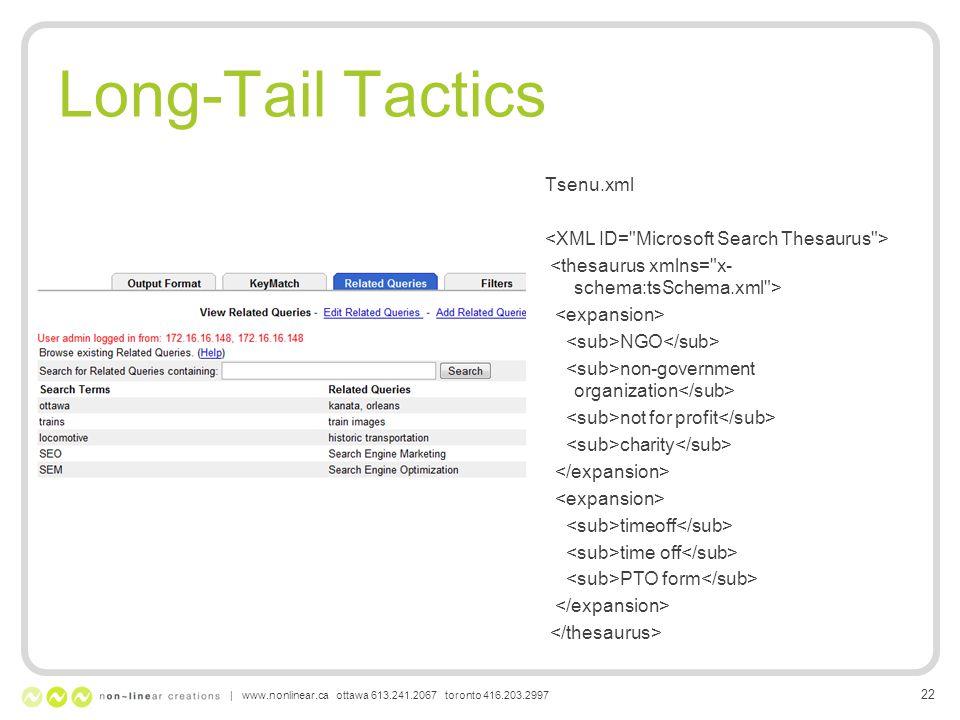 Long-Tail Tactics Tsenu.xml NGO non-government organization not for profit charity timeoff PTO form | www.nonlinear.ca ottawa 613.241.2067 toronto 416