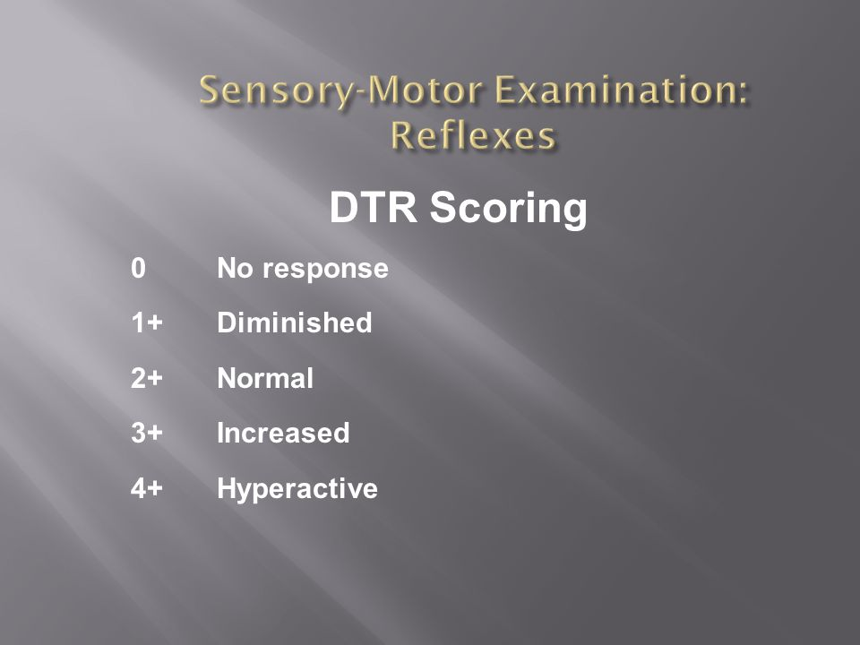 DTR Scoring 0No response 1+Diminished 2+Normal 3+Increased 4+Hyperactive