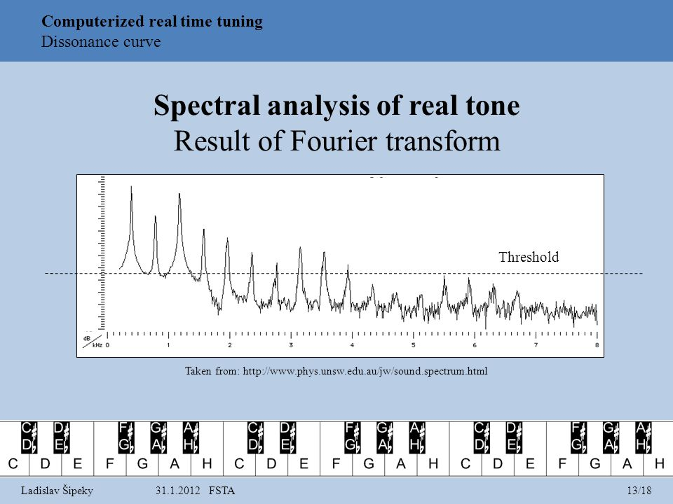 Computerized real time tuning Dissonance curve Spectral analysis of real tone Result of Fourier transform Threshold Taken from: http://www.phys.unsw.edu.au/jw/sound.spectrum.html Ladislav Šipeky31.1.2012 FSTA13/18