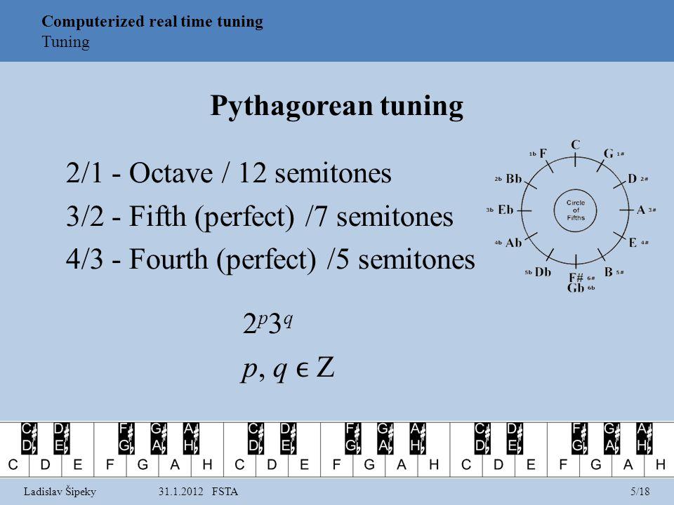 Pythagorean tuning 2/1 - Octave / 12 semitones 3/2 - Fifth (perfect) /7 semitones 4/3 - Fourth (perfect) /5 semitones 2 p 3 q p, q Z Computerized real time tuning Tuning Ladislav Šipeky31.1.2012 FSTA5/18