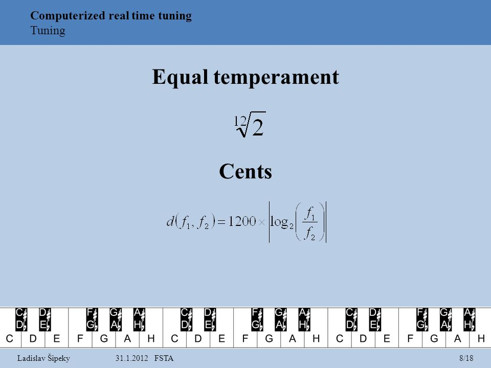 Equal temperament Cents Computerized real time tuning Tuning Ladislav Šipeky31.1.2012 FSTA8/18