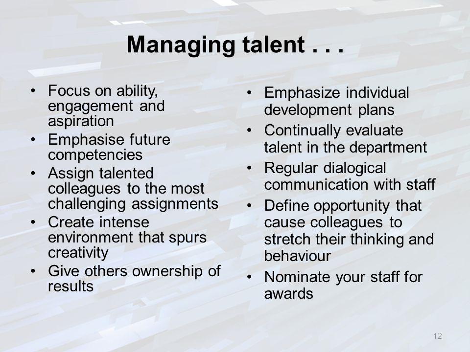 Managing talent...