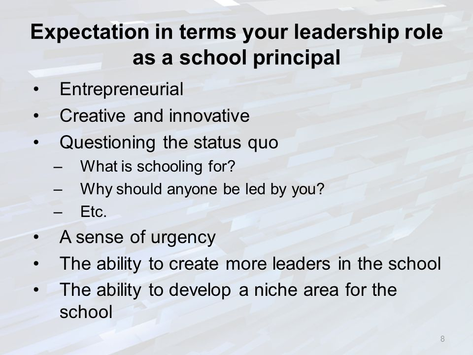 Expectation in terms your leadership role as a school principal Entrepreneurial Creative and innovative Questioning the status quo –What is schooling