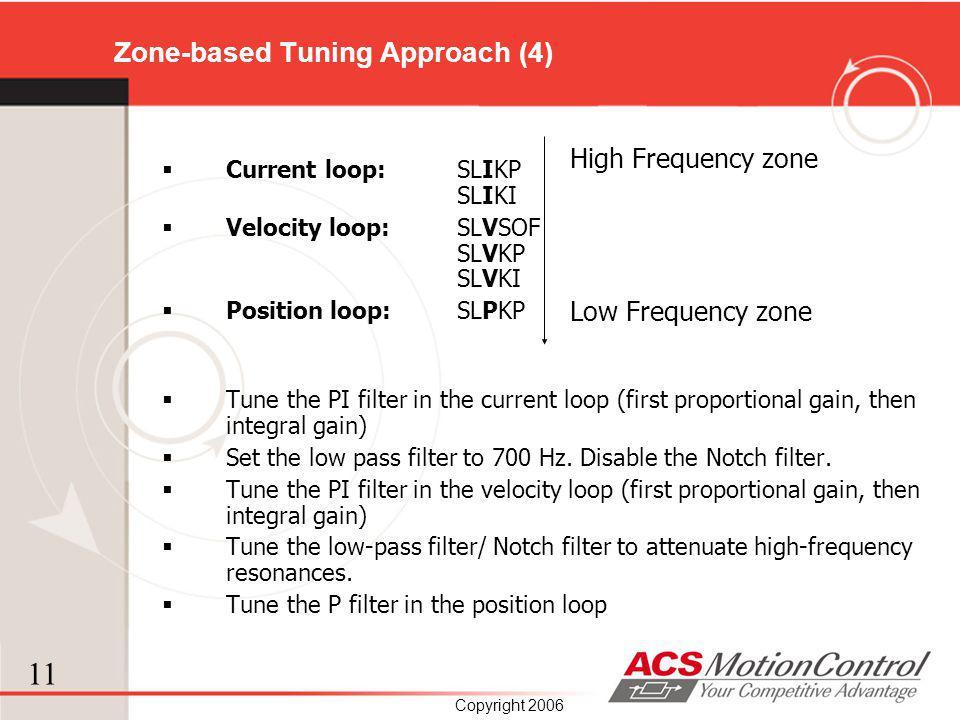 11 Copyright 2006 Zone-based Tuning Approach (4) Current loop: SLIKP SLIKI Velocity loop: SLVSOF SLVKP SLVKI Position loop: SLPKP Tune the PI filter i