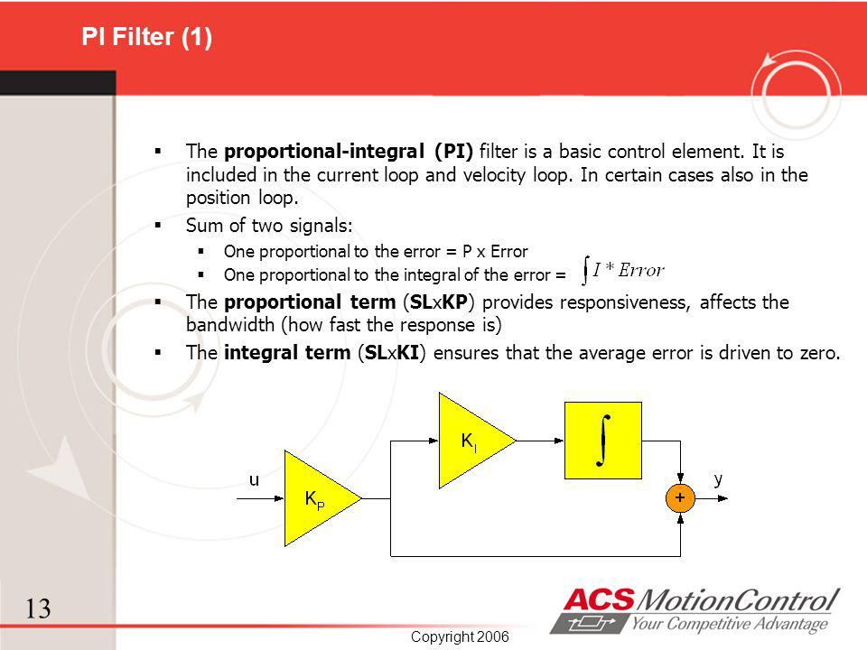 13 Copyright 2006 PI Filter (1) The proportional-integral (PI) filter is a basic control element. It is included in the current loop and velocity loop