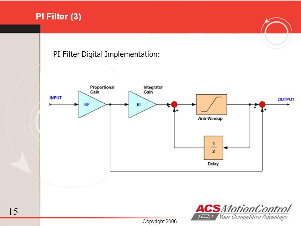 15 Copyright 2006 PI Filter (3) PI Filter Digital Implementation: