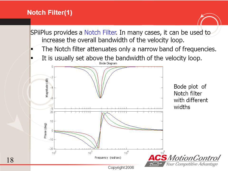 18 Copyright 2006 SPiiPlus provides a Notch Filter. In many cases, it can be used to increase the overall bandwidth of the velocity loop. The Notch fi