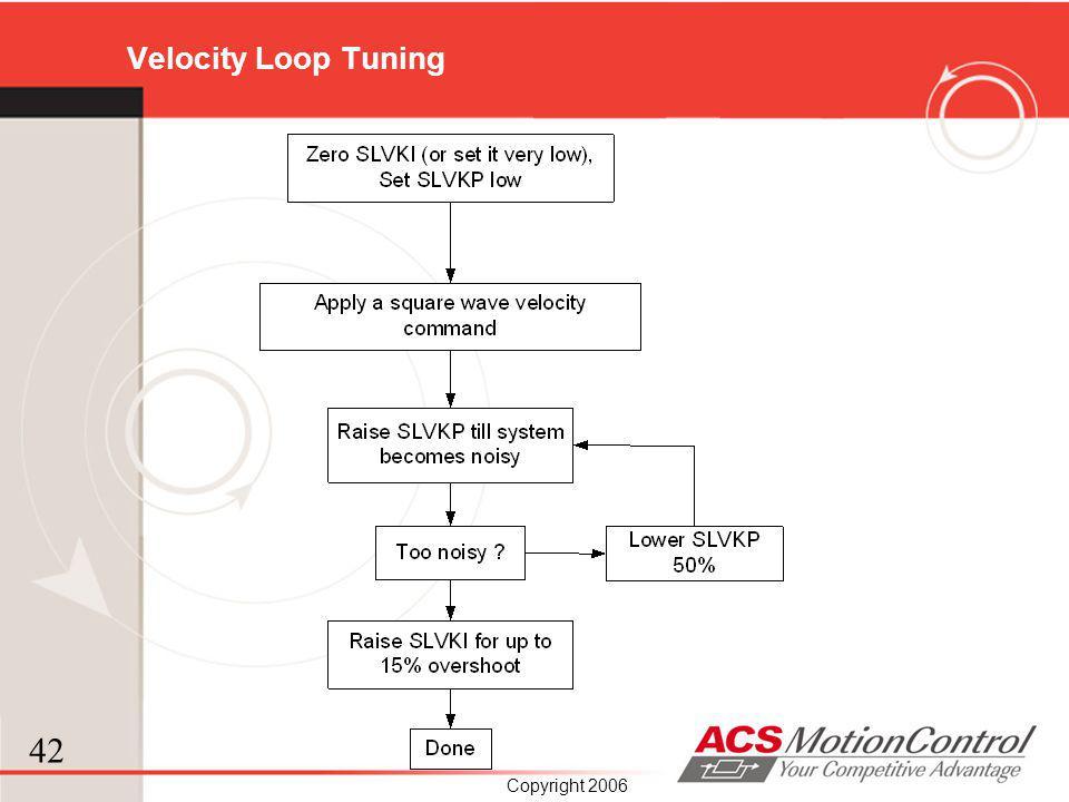 42 Copyright 2006 Velocity Loop Tuning