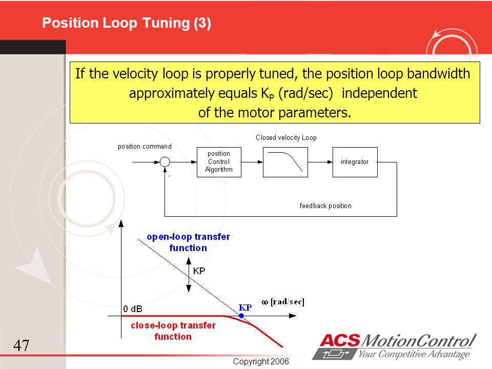 47 Copyright 2006 If the velocity loop is properly tuned, the position loop bandwidth approximately equals K P (rad/sec) independent of the motor para