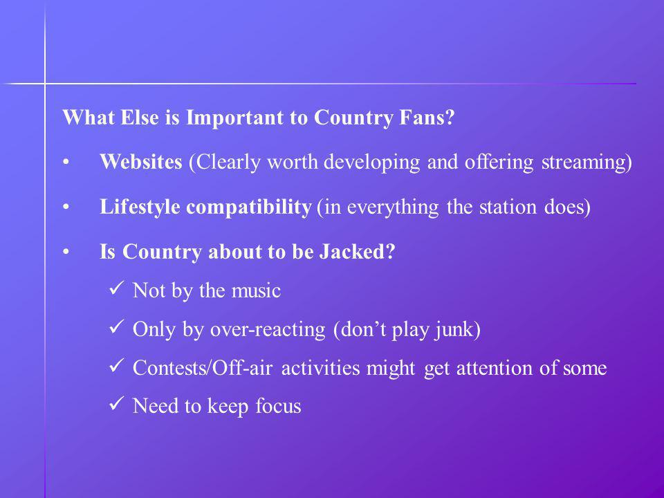 What Else is Important to Country Fans.