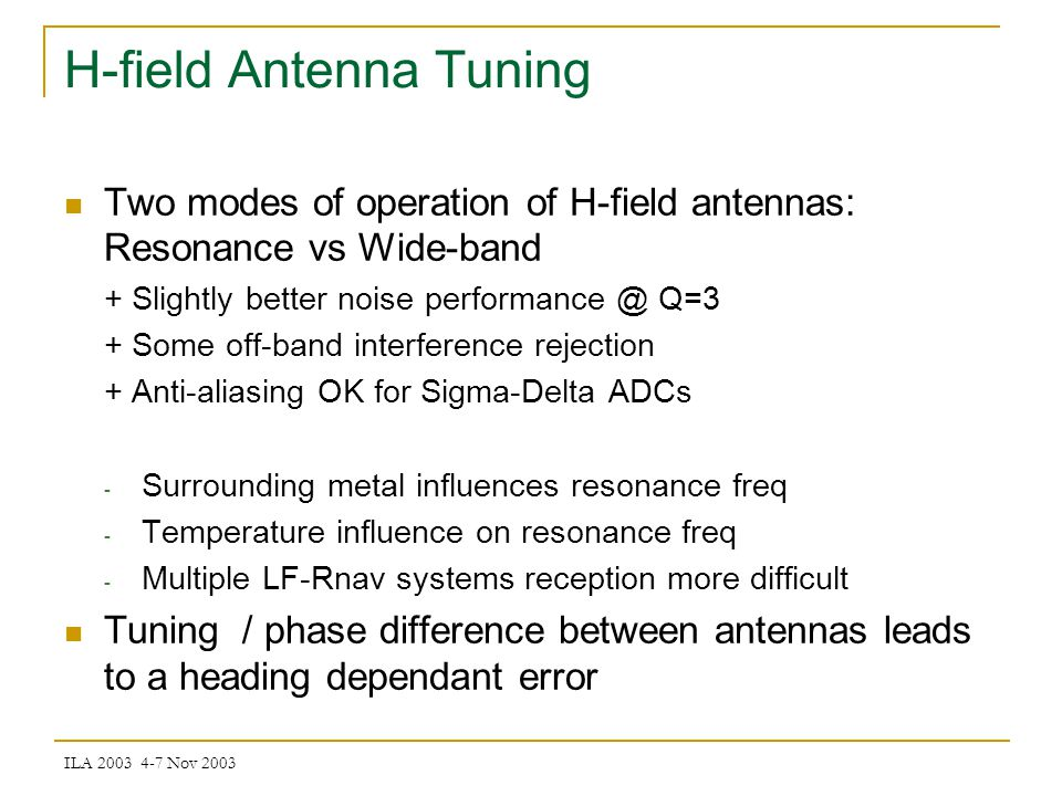 ILA 2003 4-7 Nov 2003 H-field Antenna Tuning Error Compensation
