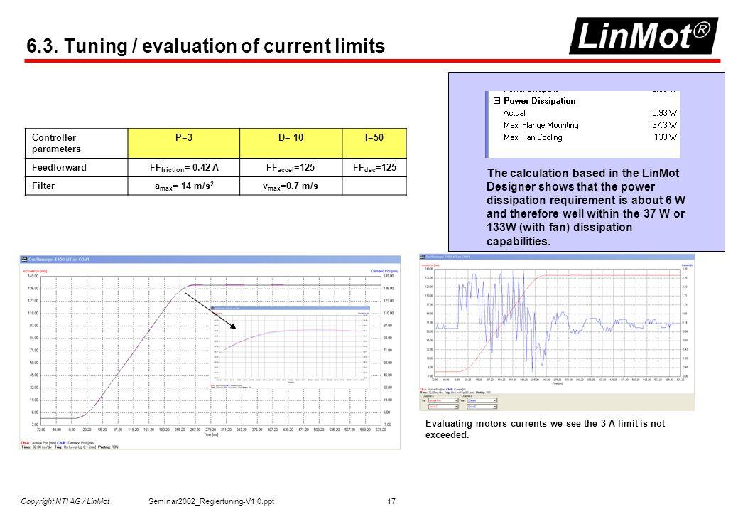 Copyright NTI AG / LinMot Seminar2002_Reglertuning-V1.0.ppt 17 6.3.