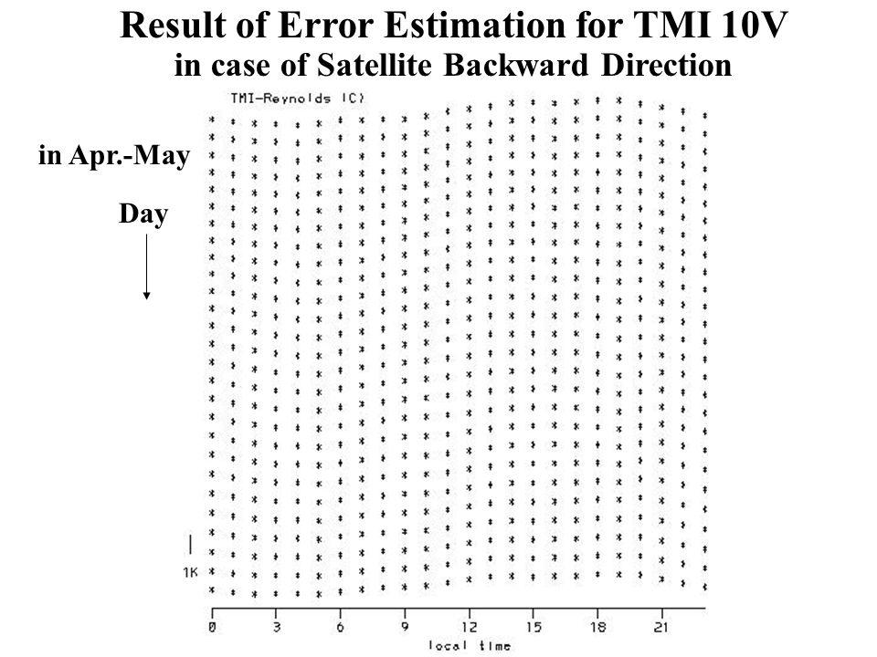 Day Result of Error Estimation for TMI 10V in case of Satellite Backward Direction in Apr.-May
