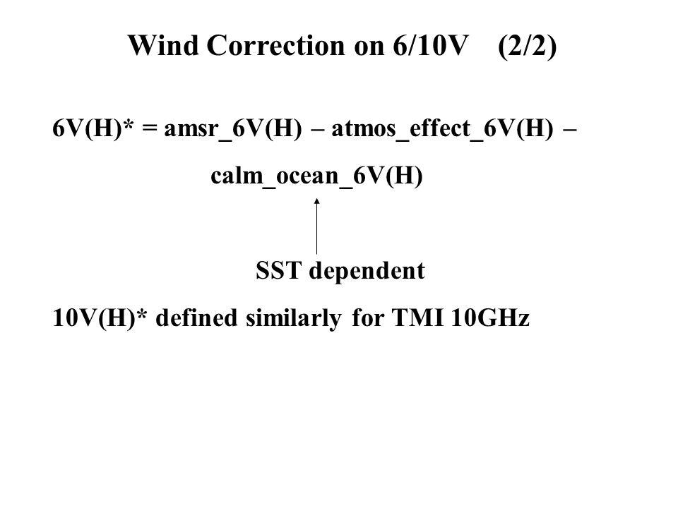 6V(H)* = amsr_6V(H) – atmos_effect_6V(H) – calm_ocean_6V(H) SST dependent 10V(H)* defined similarly for TMI 10GHz Wind Correction on 6/10V (2/2)
