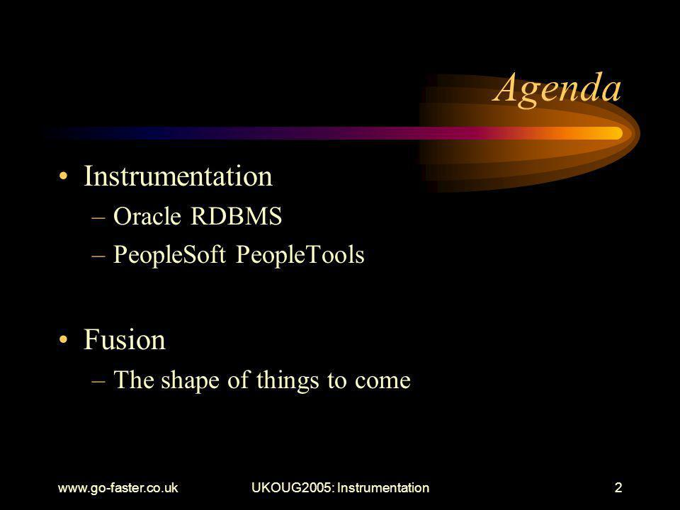 UKOUG2005: Instrumentation2 Agenda Instrumentation –Oracle RDBMS –PeopleSoft PeopleTools Fusion –The shape of things to come