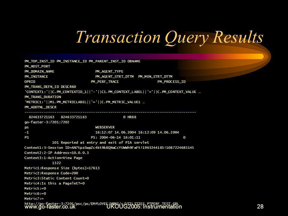 www.go-faster.co.ukUKOUG2005: Instrumentation28 Transaction Query Results PM_TOP_INST_ID PM_INSTANCE_ID PM_PARENT_INST_ID DBNAME PM_HOST_PORT PM_DOMAIN_NAME PM_AGENT_TYPE PM_INSTANCE PM_AGENT_STRT_DTTM PM_MON_STRT_DTTM OPRID PM_PERF_TRACE PM_PROCESS_ID PM_TRANS_DEFN_ID DESCR60 CONTEXT1: ||C.PM_CONTEXTID_1|| - ||C1.PM_CONTEXT_LABEL|| = ||C.PM_CONTEXT_VALUE … PM_TRANS_DURATION METRIC1: ||M1.PM_METRICLABEL|| = ||C.PM_METRIC_VALUE1 … PM_ADDTNL_DESCR -------------------------------------------------------------------------------- 824633721163 824633721163 0 HR88 go-faster-3:7201:7202 ps WEBSERVER -1 16:12:07 14.06.2004 16:12:09 14.06.2004 PS PS: 2004-06-14 16:01:11 0 101 Reported at entry and exit of PIA servlet Context1:3-Session ID=AN7tpzSwpZc4kt9k8QNaCcYUWWh9FaFt!1963244185!1087224685145 Context2:2-IP Address=10.0.0.3 Context3:1-Action=View Page 1322 Metric1:Response Size (bytes)=17613 Metric2:Response Code=200 Metric3:Static Content Count=0 Metric4:Is this a Pagelet =0 Metric5:=0 Metric6:=0 Metric7:= http://go-faster-3:7201/psc/ps/EMPLOYEE/HRMS/c/UTILITIES.PTPERF_TEST.GBL
