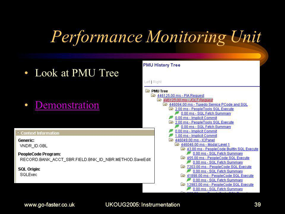 www.go-faster.co.ukUKOUG2005: Instrumentation39 Performance Monitoring Unit Look at PMU Tree Demonstration