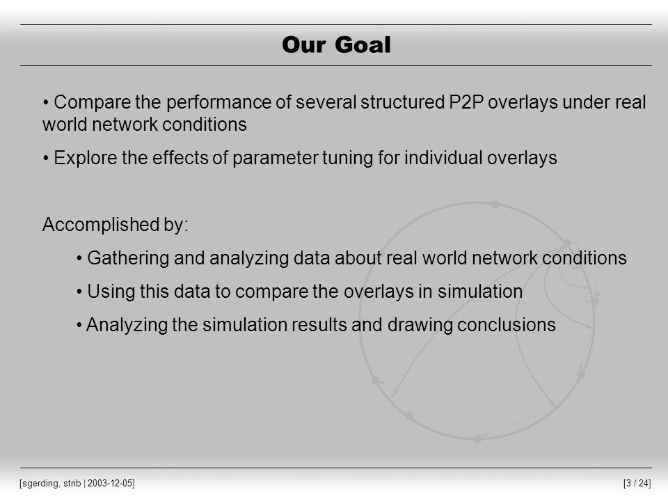 [24 / 24] [sgerding, strib | 2003-12-05] Summary Our goal: Explore the effects of real world conditions and parameter tuning on the performance of structured overlays Real world data was collected from the PlanetLab testbed Illustrated tradeoffs within and between four overlay protocols Non-transitivity has a large effect on performance Recommendations for system designers: Choose an appropriate overlay for target environment Carefully tune parameters for that overlay