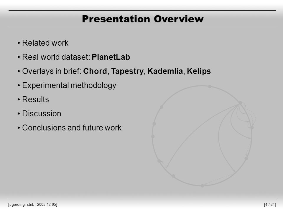[4 / 24] [sgerding, strib | 2003-12-05] Presentation Overview Related work Real world dataset: PlanetLab Overlays in brief: Chord, Tapestry, Kademlia, Kelips Experimental methodology Results Discussion Conclusions and future work