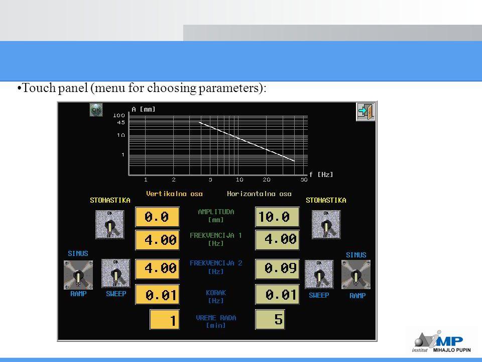 Touch panel (menu for choosing parameters):