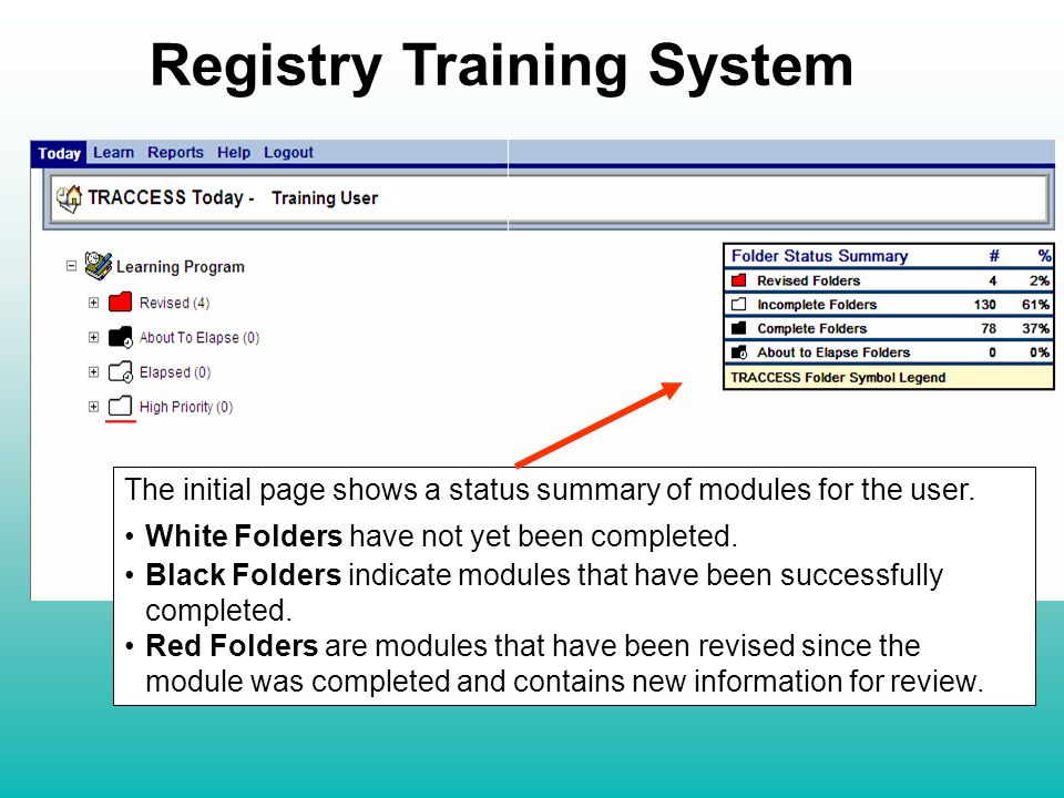 The initial page shows a status summary of modules for the user.