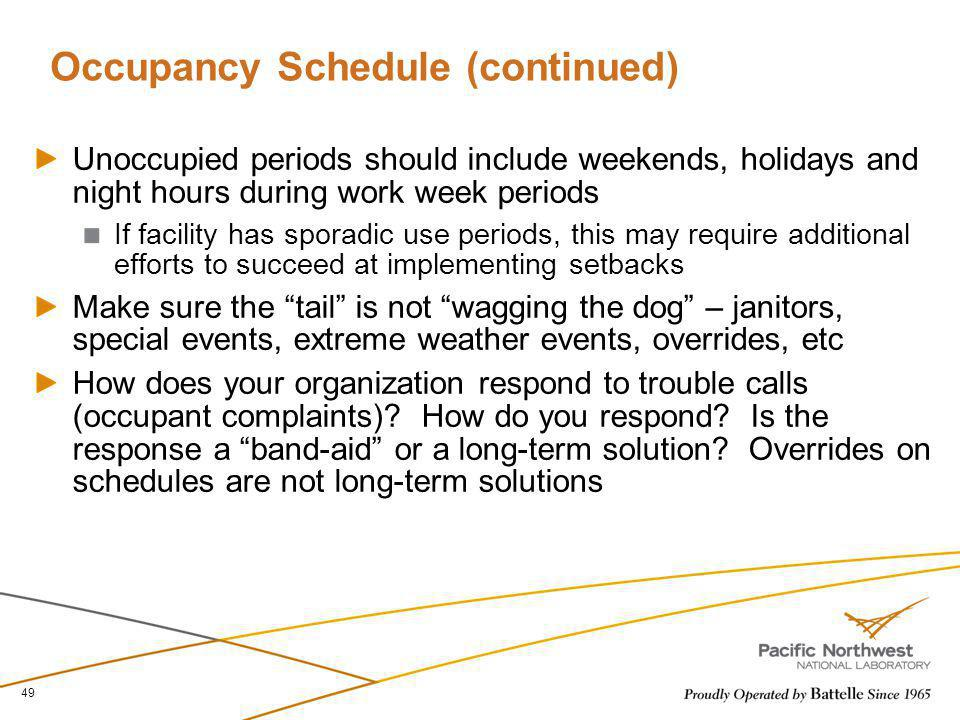 Occupancy Schedule (continued) Unoccupied periods should include weekends, holidays and night hours during work week periods If facility has sporadic
