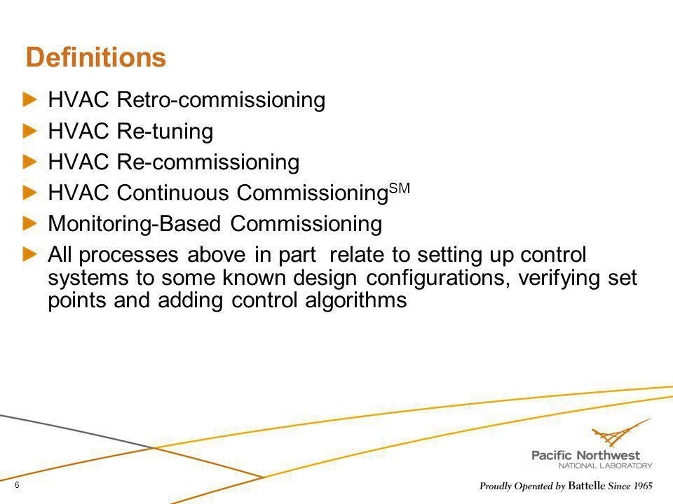 6 Definitions HVAC Retro-commissioning HVAC Re-tuning HVAC Re-commissioning HVAC Continuous Commissioning SM Monitoring-Based Commissioning All proces