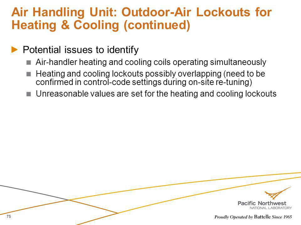 Air Handling Unit: Outdoor-Air Lockouts for Heating & Cooling (continued) Potential issues to identify Air-handler heating and cooling coils operating